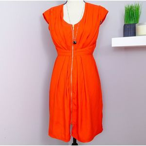 H&M Orange Full Zip Ruched Mini Dress Sz 4